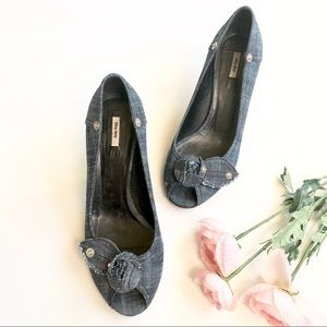 Miu Miu denim flower embellished peep toe pump
